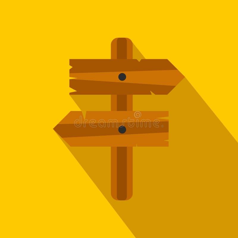 Ξύλινο επίπεδο εικονίδιο σημαδιών βελών κατεύθυνσης διανυσματική απεικόνιση