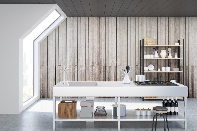 Ξύλινο εσωτερικό κουζινών διανυσματική απεικόνιση