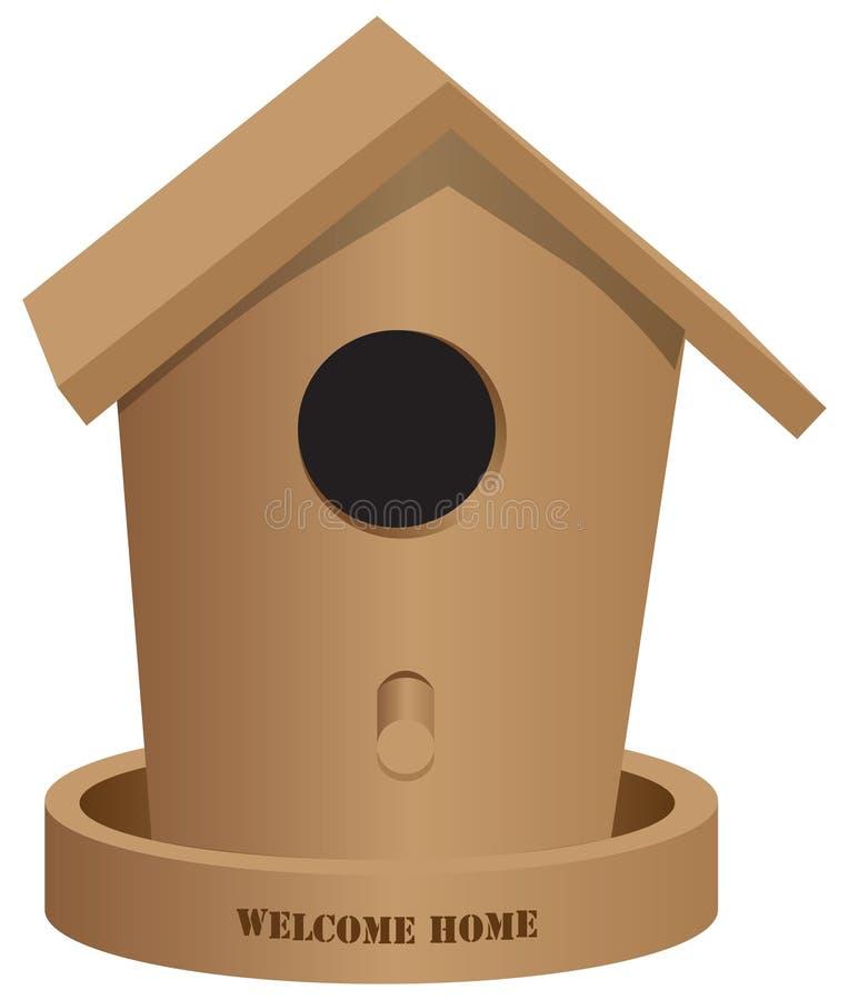 Ξύλινο ευπρόσδεκτο σπίτι σπιτιών πουλιών απεικόνιση αποθεμάτων