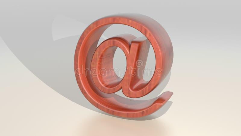 Ξύλινο ηλεκτρονικό ταχυδρομείο - μηνύματα Διαδικτύου απεικόνιση αποθεμάτων