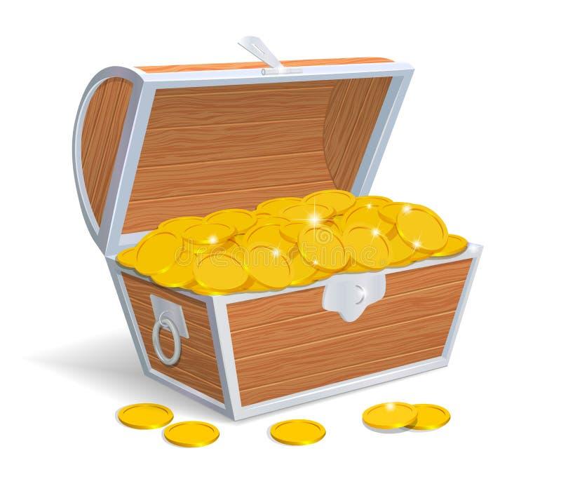 Ξύλινο θωρακικό σύνολο με τα χρυσά νομίσματα διανυσματική απεικόνιση