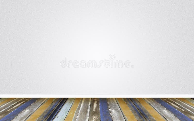 Ξύλινο πάτωμα στο κενό τσιμέντο τοίχων στοκ εικόνα