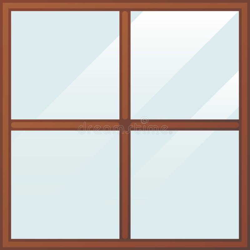 Ξύλινο παράθυρο κινούμενων σχεδίων ελεύθερη απεικόνιση δικαιώματος