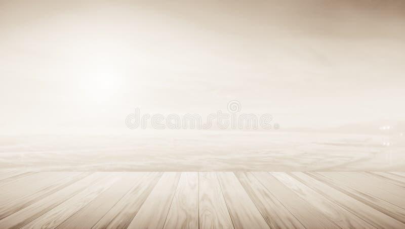 Ξύλινο πεζούλι με τη θολωμένη έννοια υποβάθρου στοκ φωτογραφίες με δικαίωμα ελεύθερης χρήσης