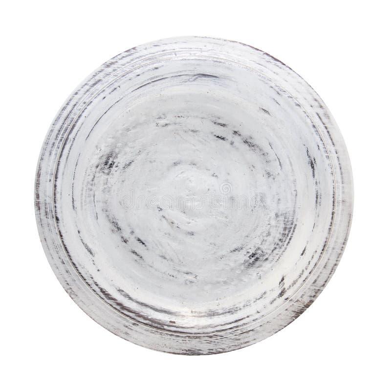 Ξύλινο πιάτο που απομονώνεται στην άσπρη ανασκόπηση στοκ φωτογραφία