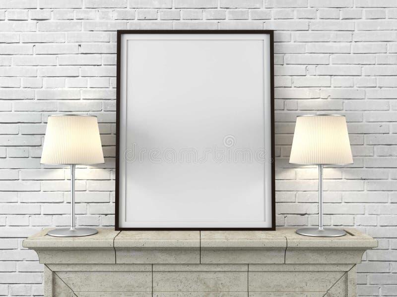 Ξύλινο πλαίσιο εικόνων με τους λαμπτήρες στοκ εικόνες