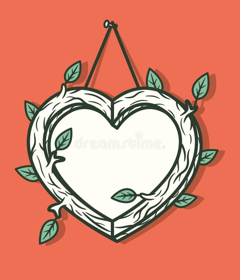 Ξύλινο πλαίσιο καρδιών απεικόνιση αποθεμάτων