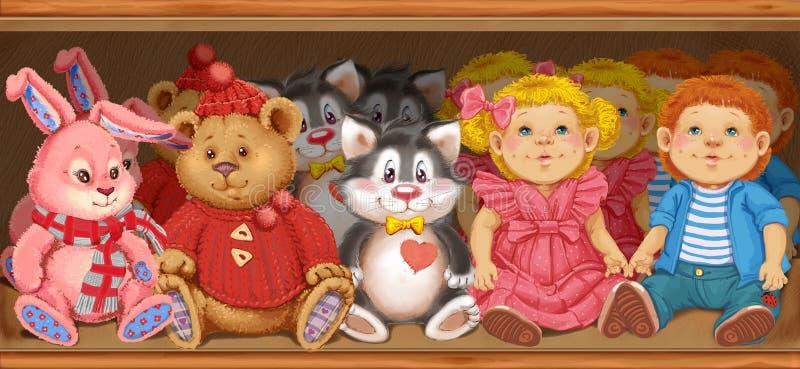 Ξύλινο ράφι με τα παιχνίδια των παιδιών στο κατάστημα απεικόνιση αποθεμάτων