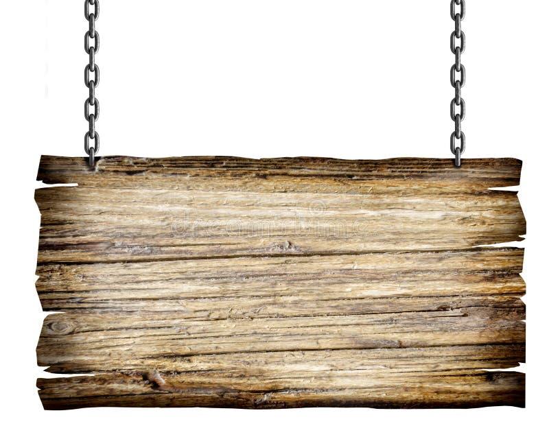 Ξύλινο σημάδι με την αλυσίδα στοκ εικόνες