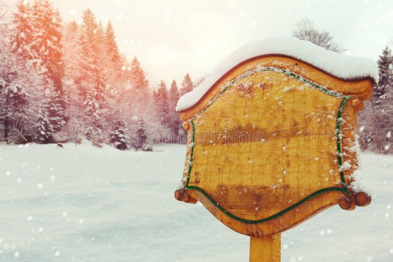 Ξύλινο σημάδι πέρα από το τοπίο χειμερινής φύσης στοκ εικόνα με δικαίωμα ελεύθερης χρήσης