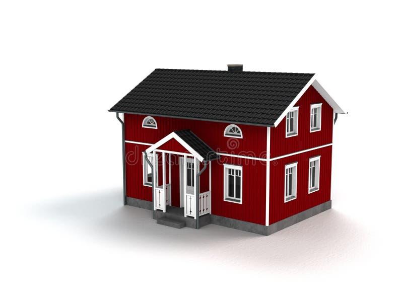 Ξύλινο σπίτι στο άσπρο υπόβαθρο ελεύθερη απεικόνιση δικαιώματος