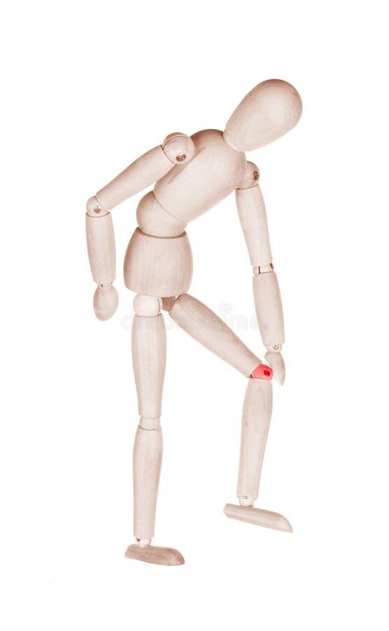 Ξύλινο σπασμένο μαριονέτα γόνατο στοκ φωτογραφίες με δικαίωμα ελεύθερης χρήσης