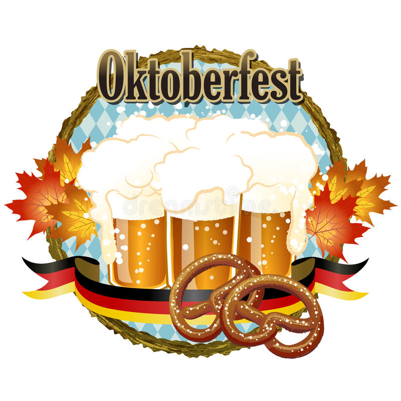 Ξύλινο σχέδιο εορτασμού Oktoberfest πλαισίων με την μπύρα και pretzel απεικόνιση αποθεμάτων