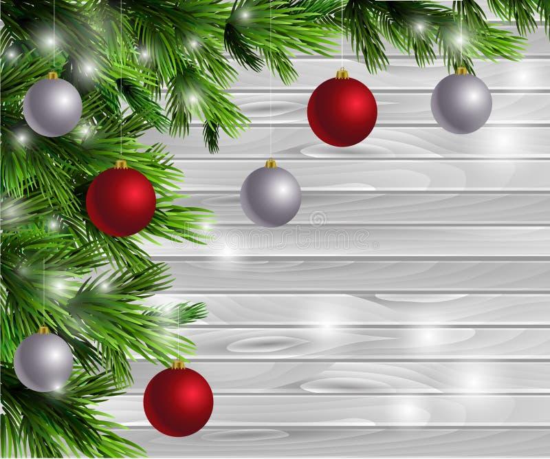 Download Ξύλινο υπόβαθρο σχεδίου έτους Χριστουγέννων νέο Διανυσματική απεικόνιση - εικονογραφία από πλαίσιο, δώρο: 62710767