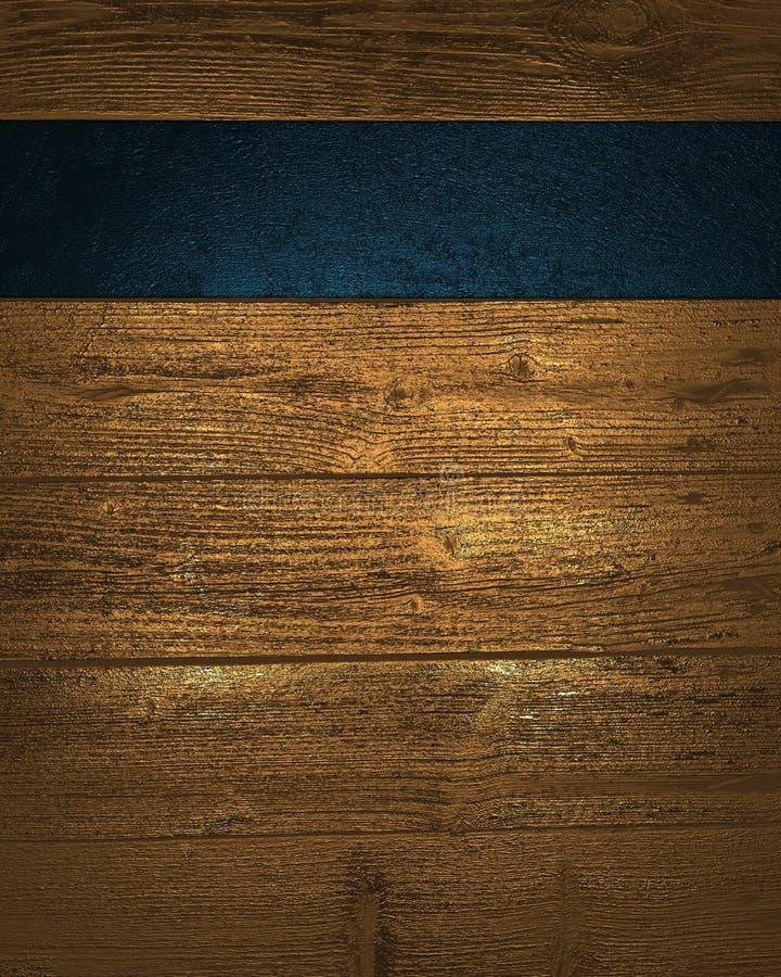 Ξύλινο υπόβαθρο grunge με μια μπλε ζώνη ελεύθερη απεικόνιση δικαιώματος