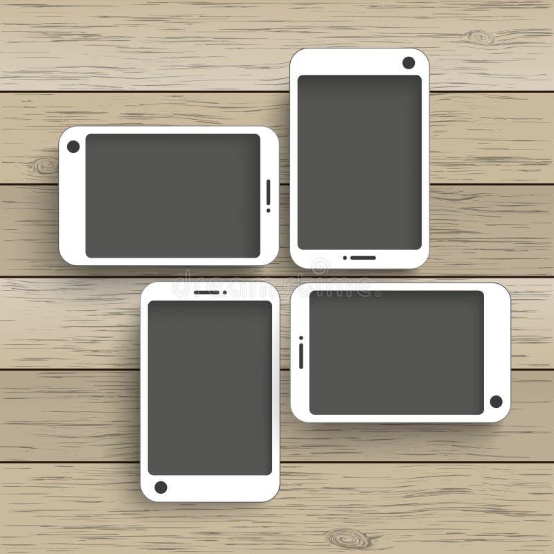 Ξύλινο υπόβαθρο 4 Smartphones απεικόνιση αποθεμάτων