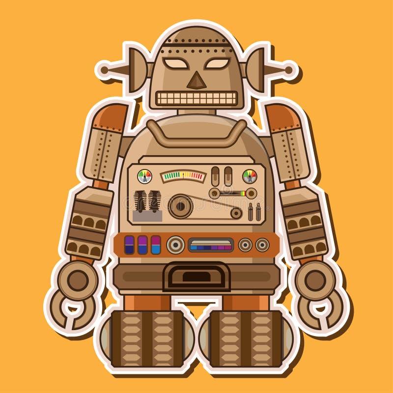 Ξύλινο χαριτωμένο διανυσματικό σχέδιο ρομπότ απεικόνιση αποθεμάτων