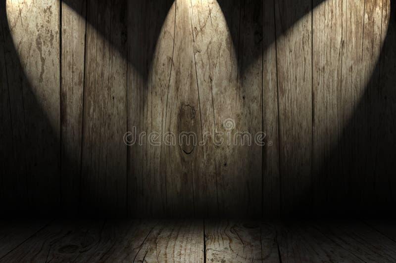 Ξύλινο δωμάτιο με τα επίκεντρα στοκ εικόνες