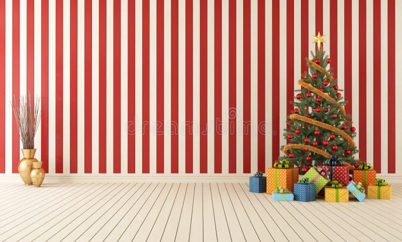 Ξύλινο δωμάτιο με το Χριστούγεννο-δέντρο απεικόνιση αποθεμάτων