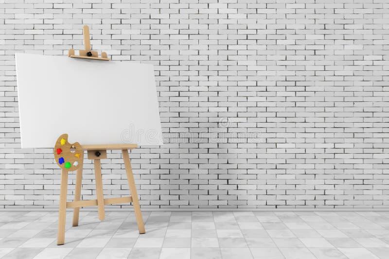 Ξύλινο Easel καλλιτεχνών με την άσπρη χλεύη επάνω στον καμβά και την παλέτα τρισδιάστατος σχετικά με διανυσματική απεικόνιση