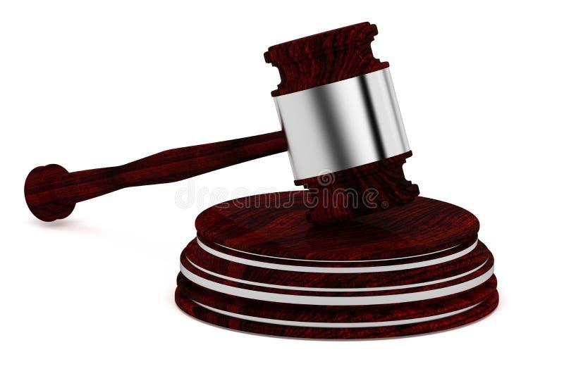 Ξύλινο gavel - δικαστής - εικονίδιο έννοιας νόμου - που απομονώνεται στην άσπρη πλάτη ελεύθερη απεικόνιση δικαιώματος
