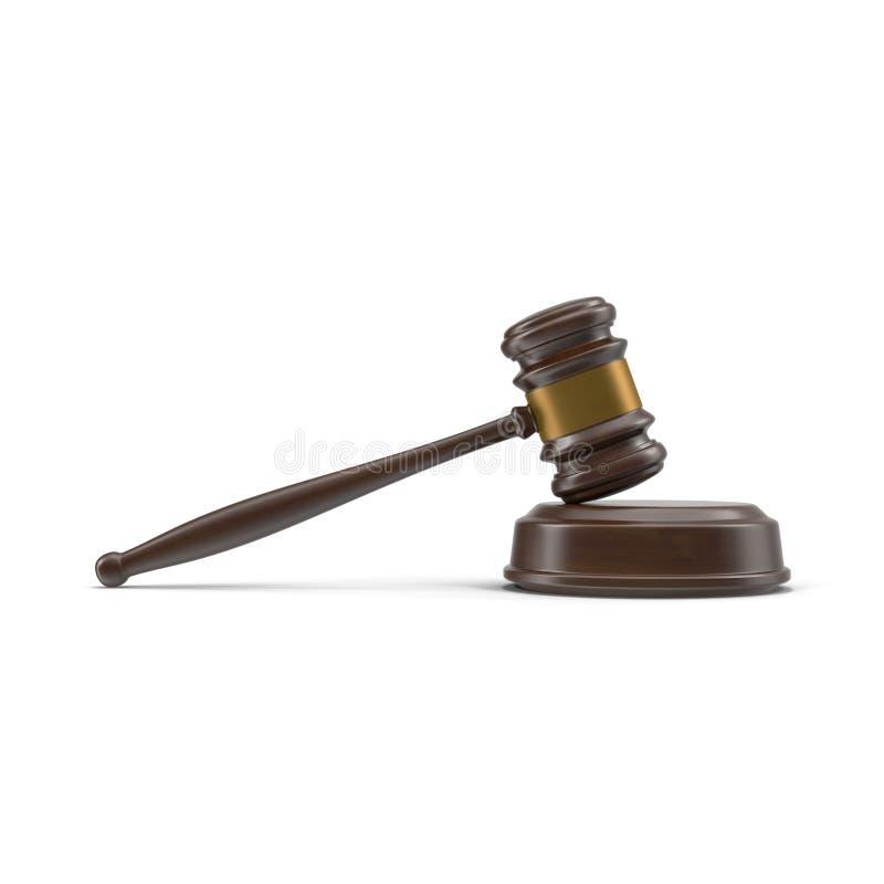 Ξύλινο gavel δικαστών που απομονώνεται στην άσπρη, πλάγια όψη, τρισδιάστατη απεικόνιση απεικόνιση αποθεμάτων