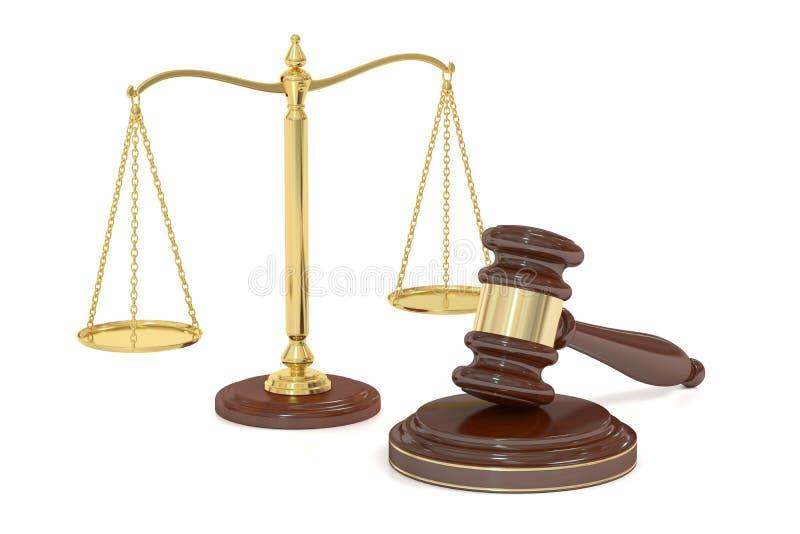 Ξύλινο gavel και χρυσές κλίμακες της δικαιοσύνης, τρισδιάστατη απόδοση απεικόνιση αποθεμάτων
