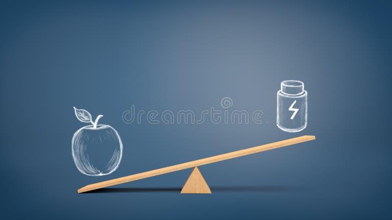 Ξύλινο seesaw με ένα σχέδιο ενός μήλου που ένα σχέδιο ενός πλαστικού εμπορευματοκιβωτίου με ένα σημάδι μπουλονιών αστραπής στοκ εικόνες