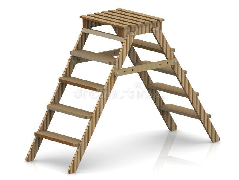 Ξύλινο stepladder διανυσματική απεικόνιση