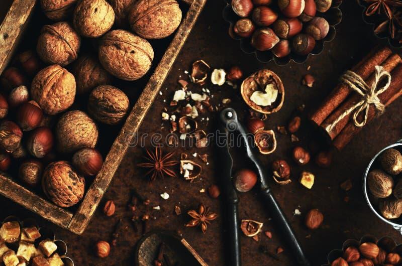 Ξύλο καρυδιάς και μίγμα και καρυκεύματα φουντουκιών για το μαγείρεμα στοκ εικόνες