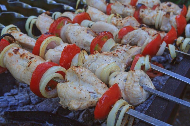 Οβελίδια κρέατος στους άνθρακες σχαρών στοκ φωτογραφία με δικαίωμα ελεύθερης χρήσης