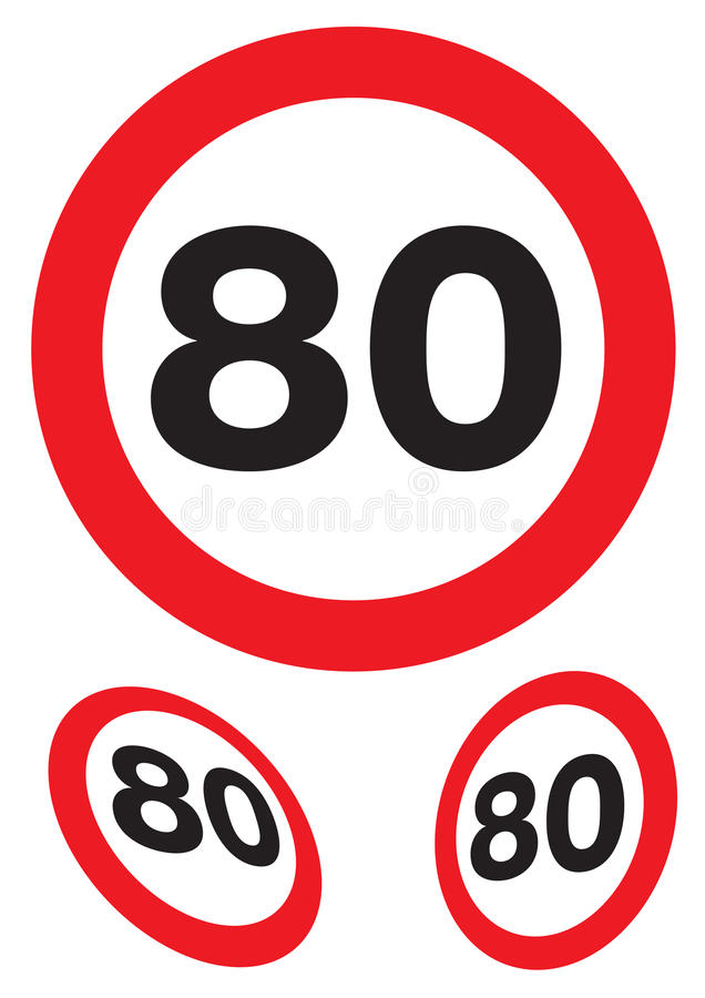 Ογδόντα μίλια ανά ώρα σημαδιών ταχύτητας ελεύθερη απεικόνιση δικαιώματος