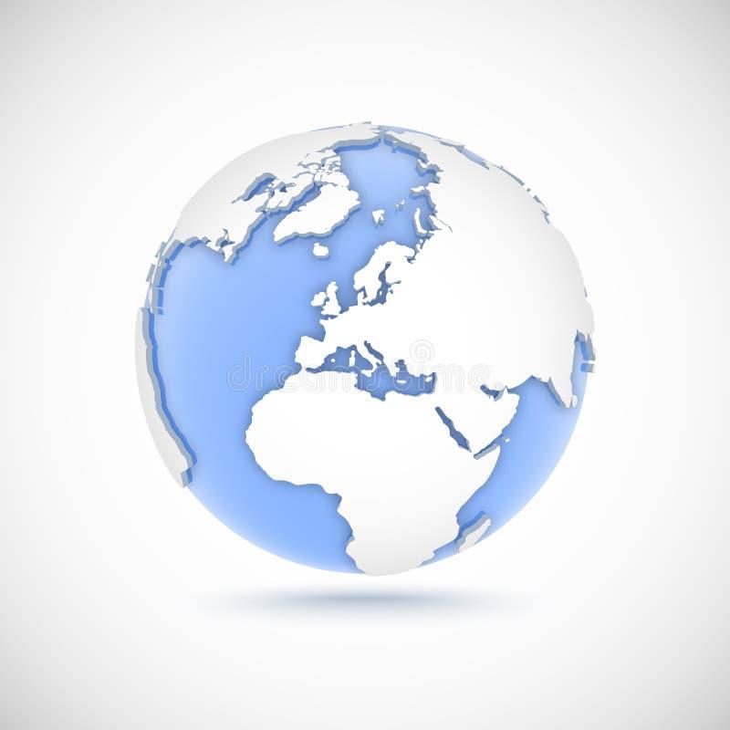 Ογκομετρική σφαίρα στα άσπρα και μπλε χρώματα τρισδιάστατη διανυσματική απεικόνιση με τις ηπείρους Αμερική, Ευρώπη, Αφρική, Ασία διανυσματική απεικόνιση