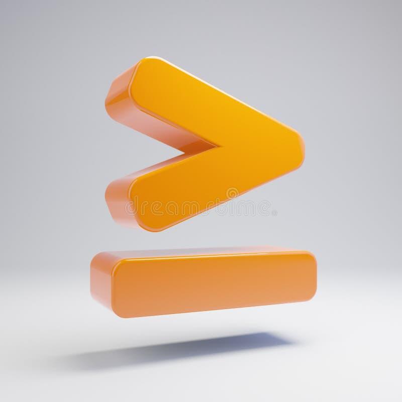 Ογκομετρικός στιλπνός καυτός πορτοκαλής μεγαλύτερος από είναι ίσος με το εικονίδιο που απομονώνεται στο άσπρο υπόβαθρο ελεύθερη απεικόνιση δικαιώματος