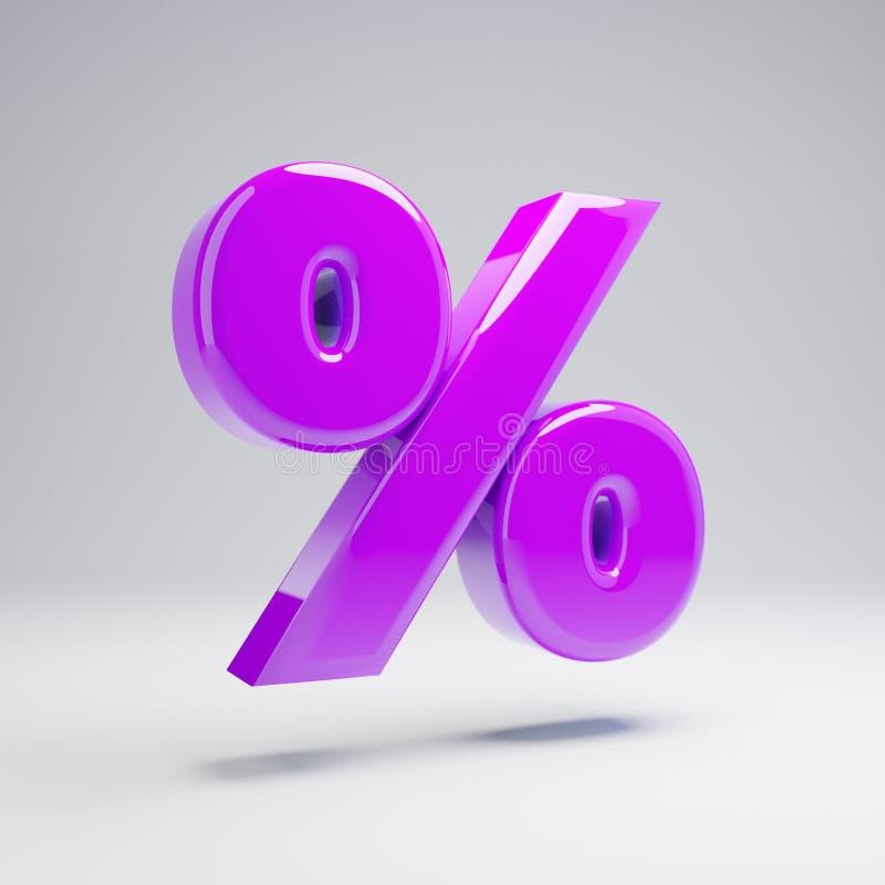 Ογκομετρικό στιλπνό ιώδες σύμβολο τοις εκατό που απομονώνεται στο άσπρο υπόβαθρο ελεύθερη απεικόνιση δικαιώματος