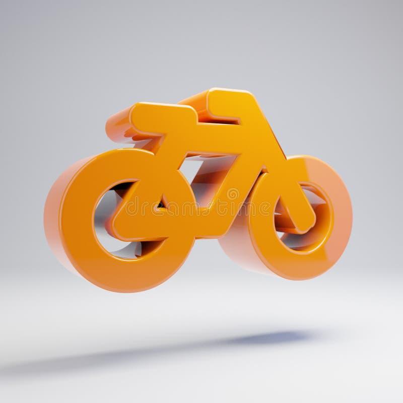 Ογκομετρικό στιλπνό καυτό πορτοκαλί εικονίδιο ποδηλάτων που απομονώνεται στο άσπρο υπόβαθρο διανυσματική απεικόνιση