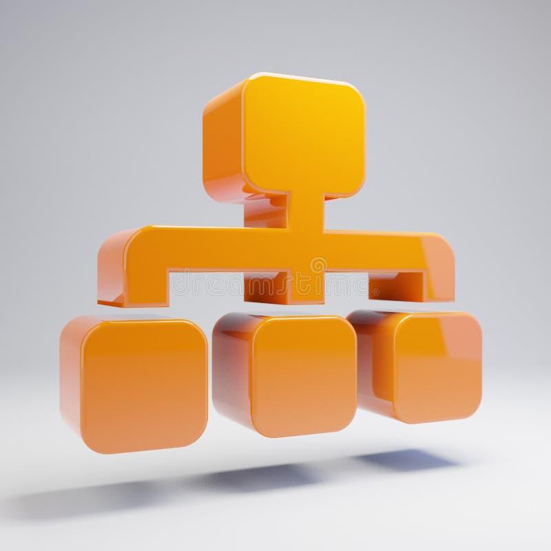 Ογκομετρικό στιλπνό καυτό πορτοκαλί εικονίδιο Sitemap που απομονώνεται στο άσπρο υπόβαθρο διανυσματική απεικόνιση