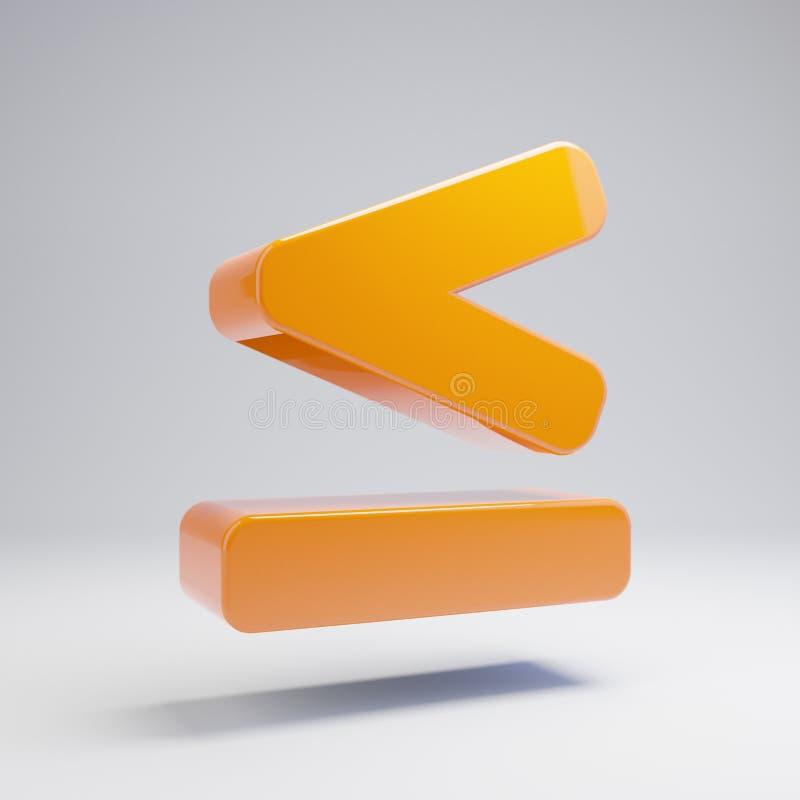 Ογκομετρικό στιλπνό καυτό πορτοκαλί λιγότερο από ίσο εικονίδιο που απομονώνεται στο άσπρο υπόβαθρο ελεύθερη απεικόνιση δικαιώματος