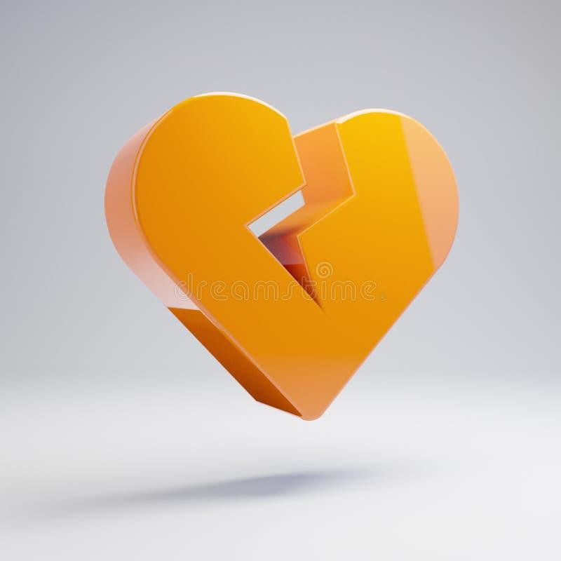 Ογκομετρικό στιλπνό καυτό πορτοκαλί σπασμένο καρδιά εικονίδιο που απομονώνεται στο άσπρο υπόβαθρο ελεύθερη απεικόνιση δικαιώματος