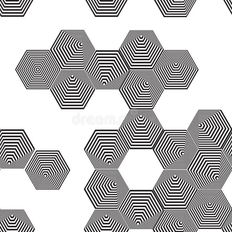 Ογκομετρικό τρισδιάστατο άνευ ραφής σχέδιο πυραμίδων Hexagon Οπτικό illusio διανυσματική απεικόνιση