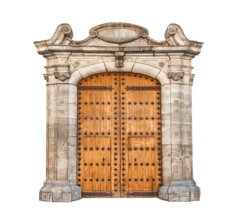 Ογκώδης πόρτα που απομονώνεται στην άσπρη ανασκόπηση. στοκ εικόνες