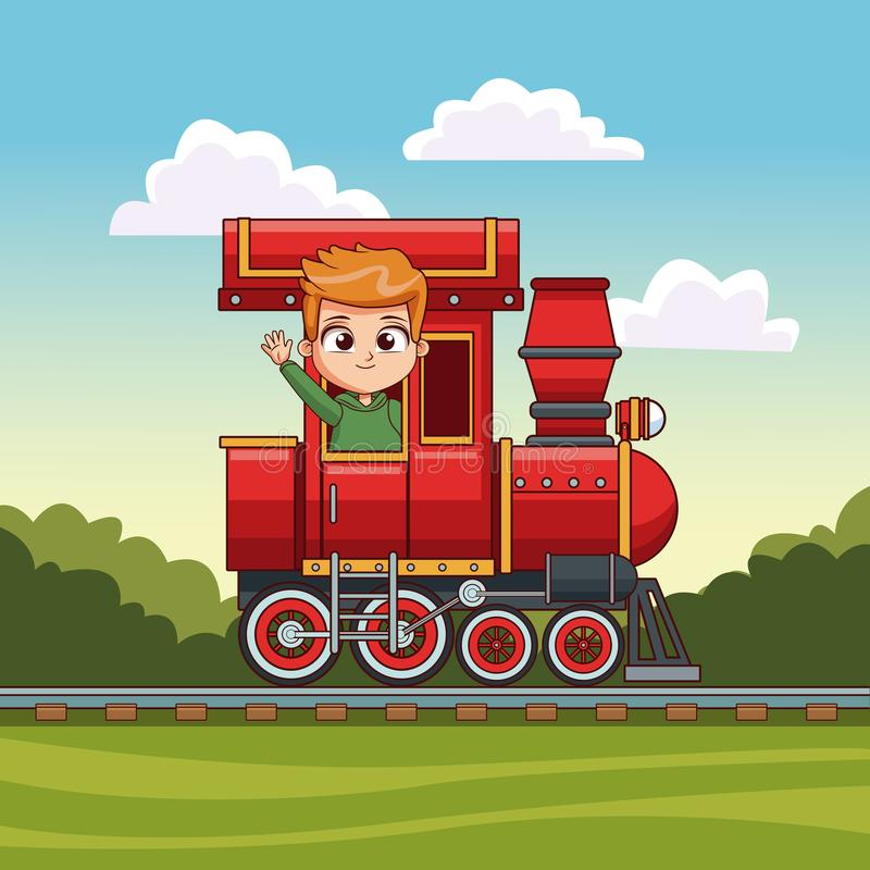 Οδήγηση αγοριών στο τραίνο διανυσματική απεικόνιση
