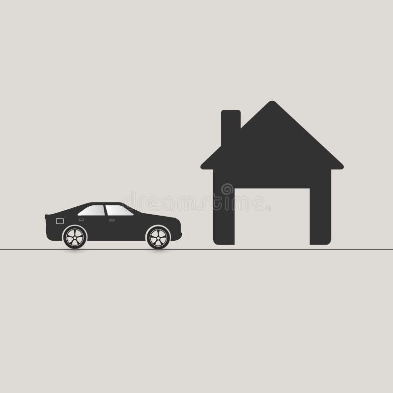 Οδήγηση αυτοκινήτων στο γκαράζ διανυσματική απεικόνιση