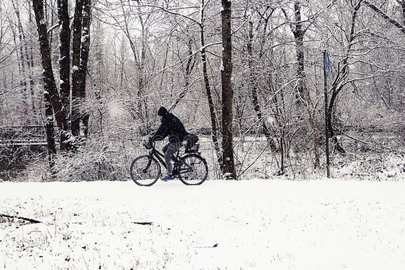 Οδήγηση κάτω από τις χιονοπτώσεις στο wintertime στοκ εικόνα