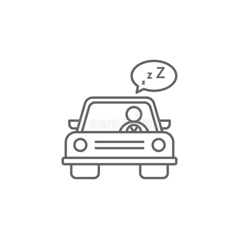 Οδήγηση με υπνηλία, εικονίδιο αυτοκινήτου Στοιχείο εικονιδίου αυτόματης υπηρεσίας Λεπτό εικονίδιο για σχεδίαση και ανάπτυξη τοποθ απεικόνιση αποθεμάτων