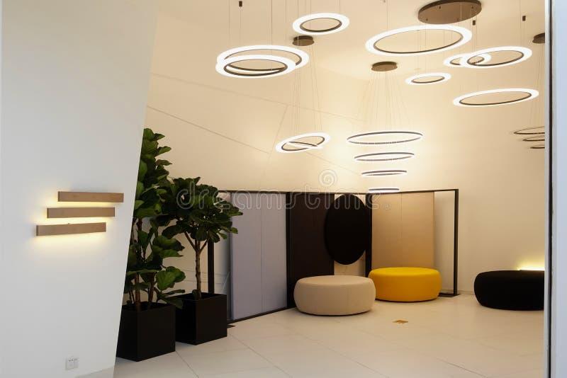 Οδηγημένος συσκευή φωτισμός συναρμολογήσεων επίπλων καθιστικών στοκ εικόνες με δικαίωμα ελεύθερης χρήσης