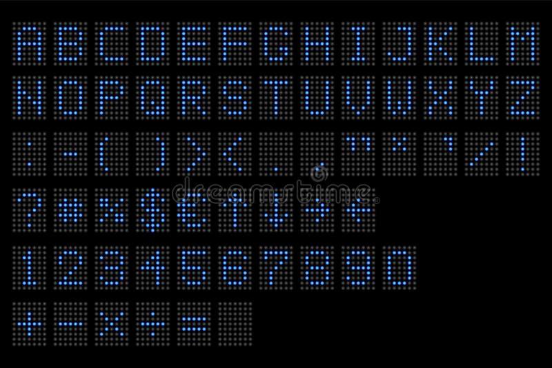 Οδηγημένο ψηφιακό αλφάβητο Ηλεκτρονική ψηφιακή επίδειξη αριθμού και αλφάβητου, επιστολές και σύμβολα Ψηφιακή τελική οδηγημένη πίν ελεύθερη απεικόνιση δικαιώματος