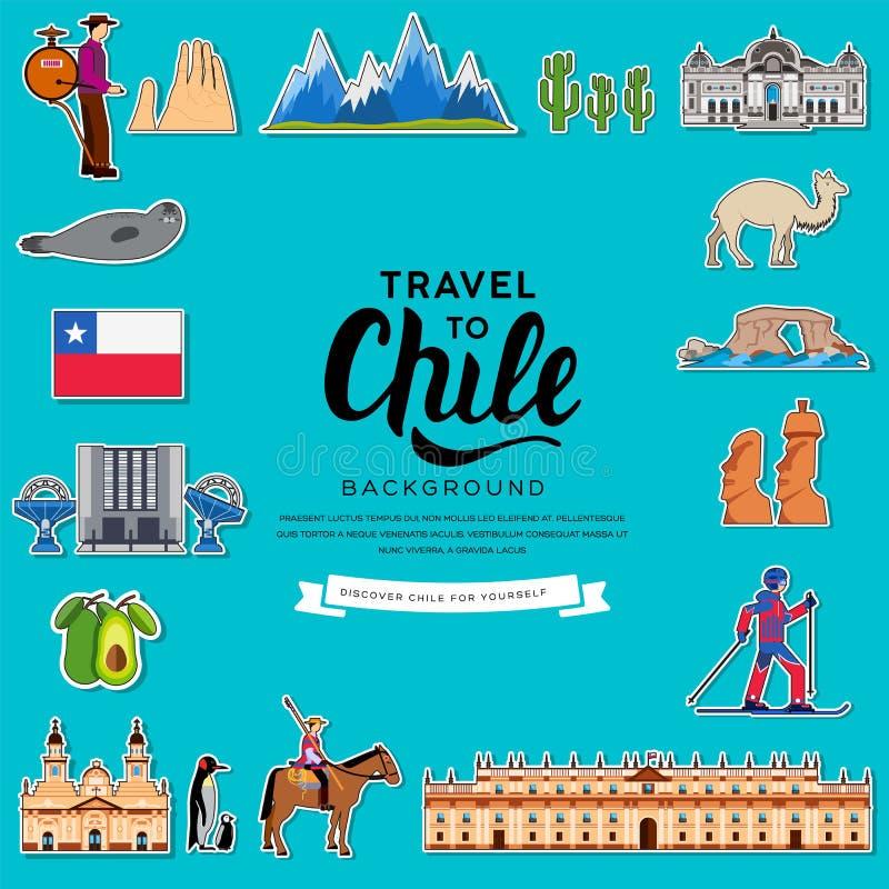 Οδηγός διακοπών ταξιδιού της Χιλής χώρας των αγαθών, των θέσεων και των χαρακτηριστικών γνωρισμάτων Σύνολο αρχιτεκτονικής, μόδα,  απεικόνιση αποθεμάτων