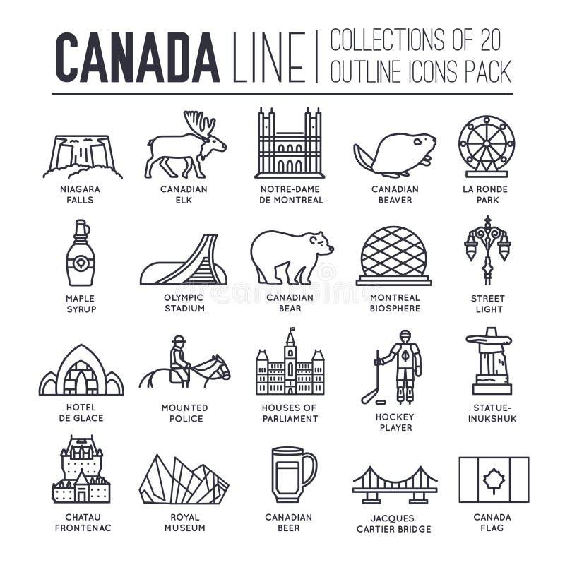 Οδηγός διακοπών ταξιδιού του Καναδά χώρας των αγαθών, της θέσης και του χαρακτηριστικού γνωρίσματος Σύνολο αρχιτεκτονικής, μόδα,  απεικόνιση αποθεμάτων