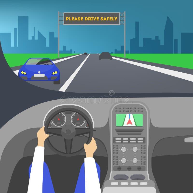 Οδηγός μέσα σε ένα αυτοκίνητο Χέρι στο τιμόνι ελεύθερη απεικόνιση δικαιώματος